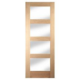 4 Panel Shaker Oak Veneer Glazed Internal Door,