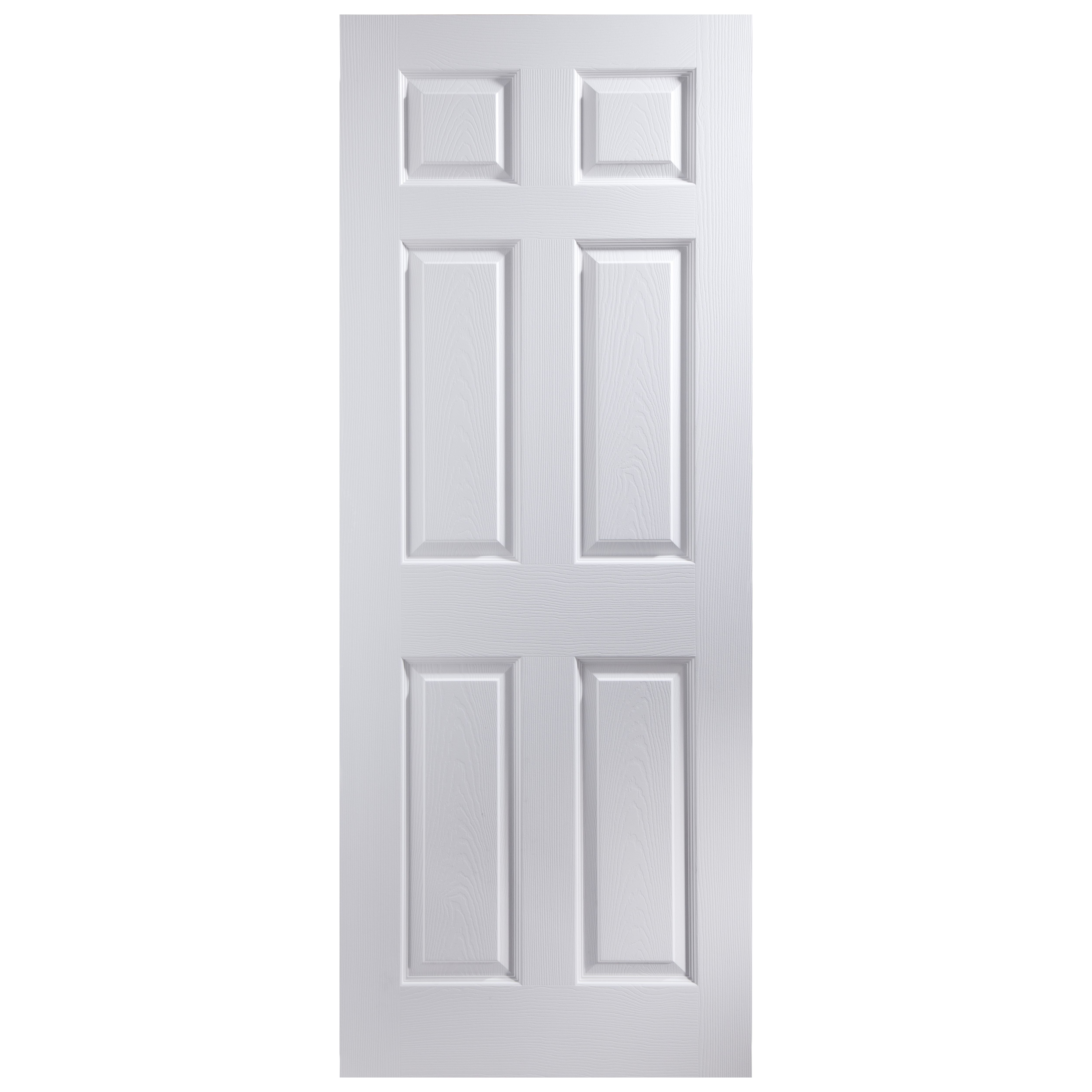 6 Panel Primed Woodgrain Internal Fire Door H 2040mm W