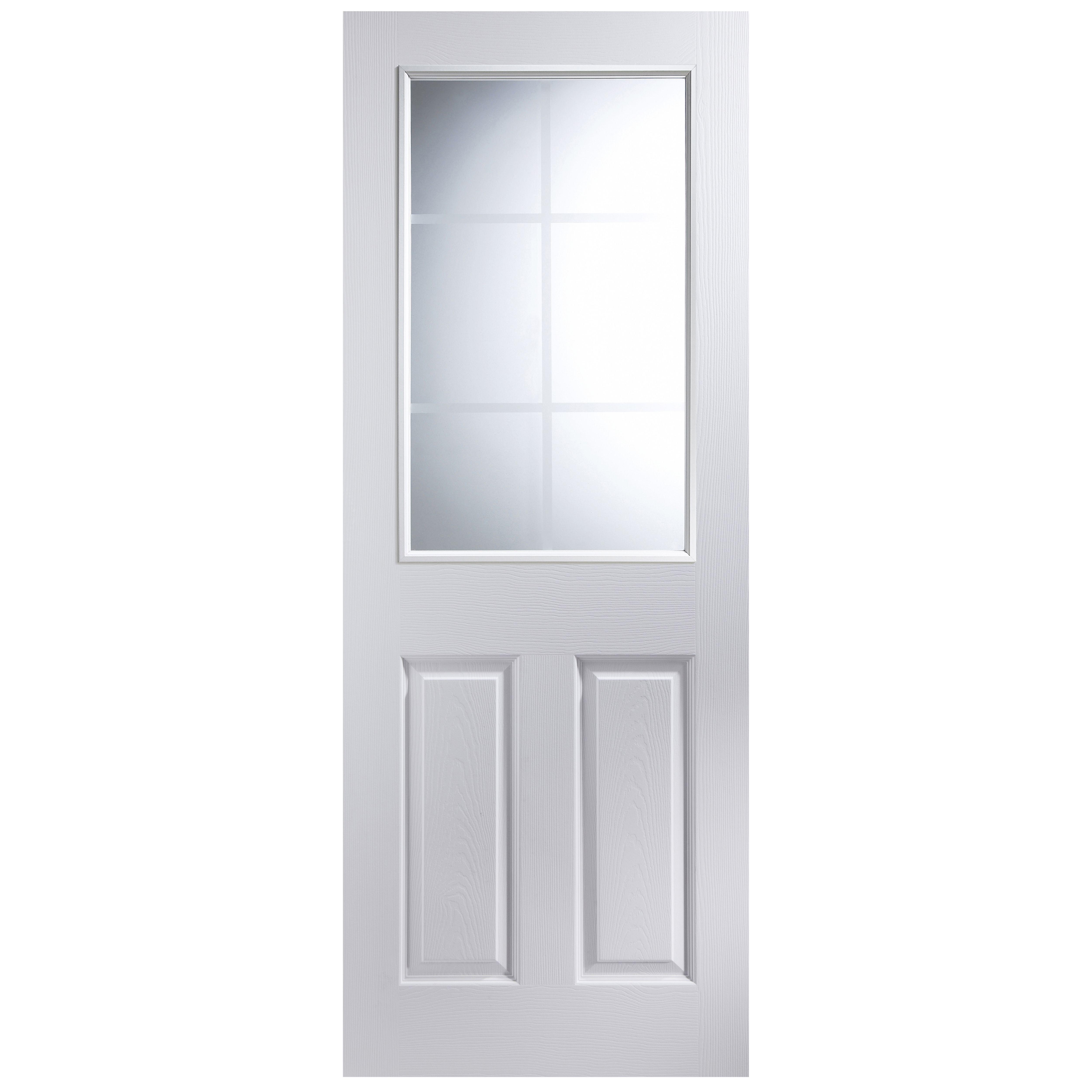 panel pre painted white woodgrain glazed internal door h 1981mm w. Black Bedroom Furniture Sets. Home Design Ideas