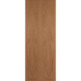 Flush Oak Veneer Internal Unglazed Door, (H)2040mm (W)826mm
