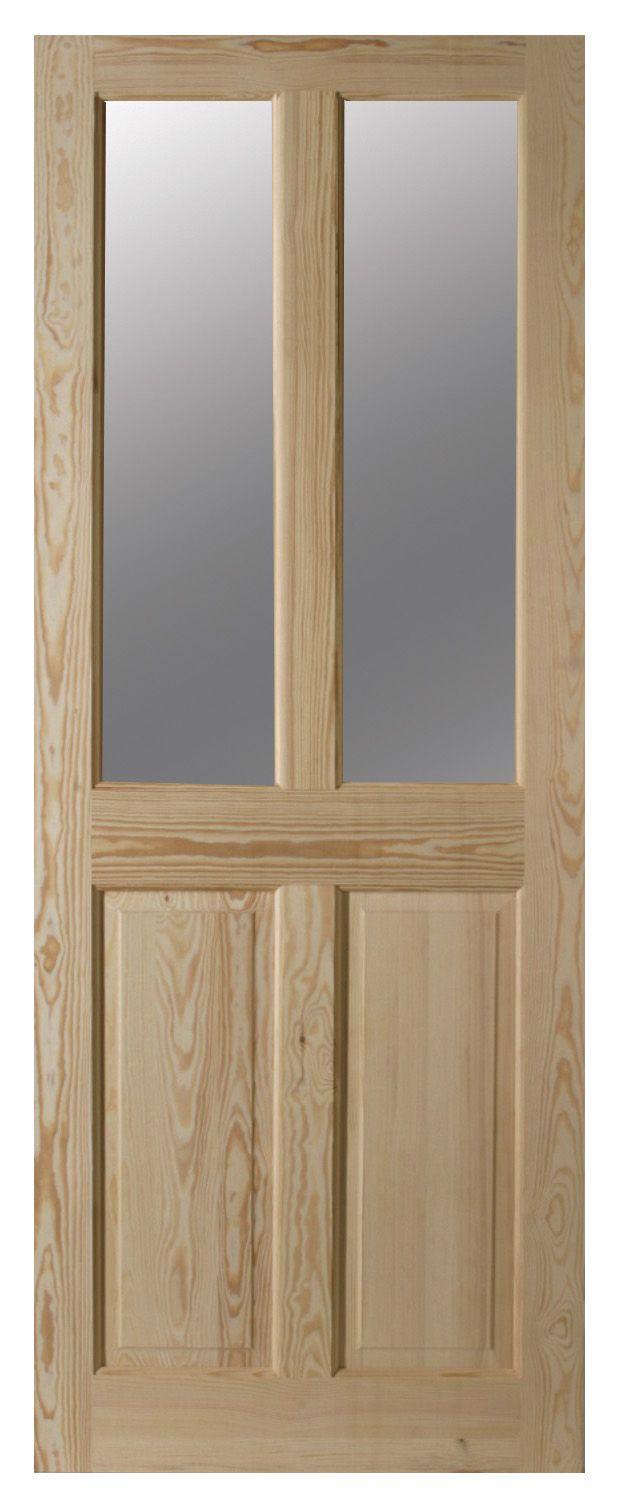 4 Panel Clear Pine Glazed Internal Door, (h)1981mm (w)762mm