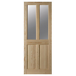 4 Panel Clear Pine Glazed Internal Door, (H)1981mm
