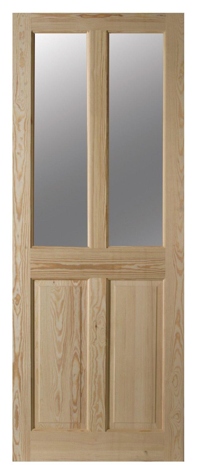 4 Panel Clear Pine Glazed Internal Door, (h)1981mm (w)838mm