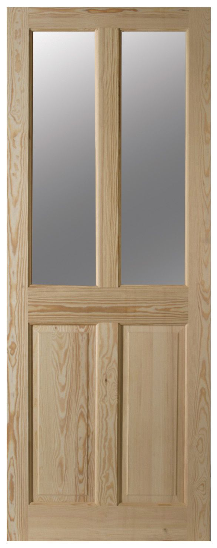 4 Panel Clear Pine Glazed Internal Door, (h)2032mm (w)813mm