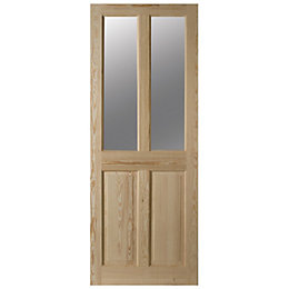 4 Panel Clear Pine Glazed Internal Door, (H)2032mm