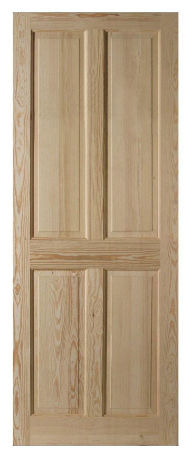 4 Panel Clear Pine Internal Unglazed Door, (h)2040mm (w)826mm