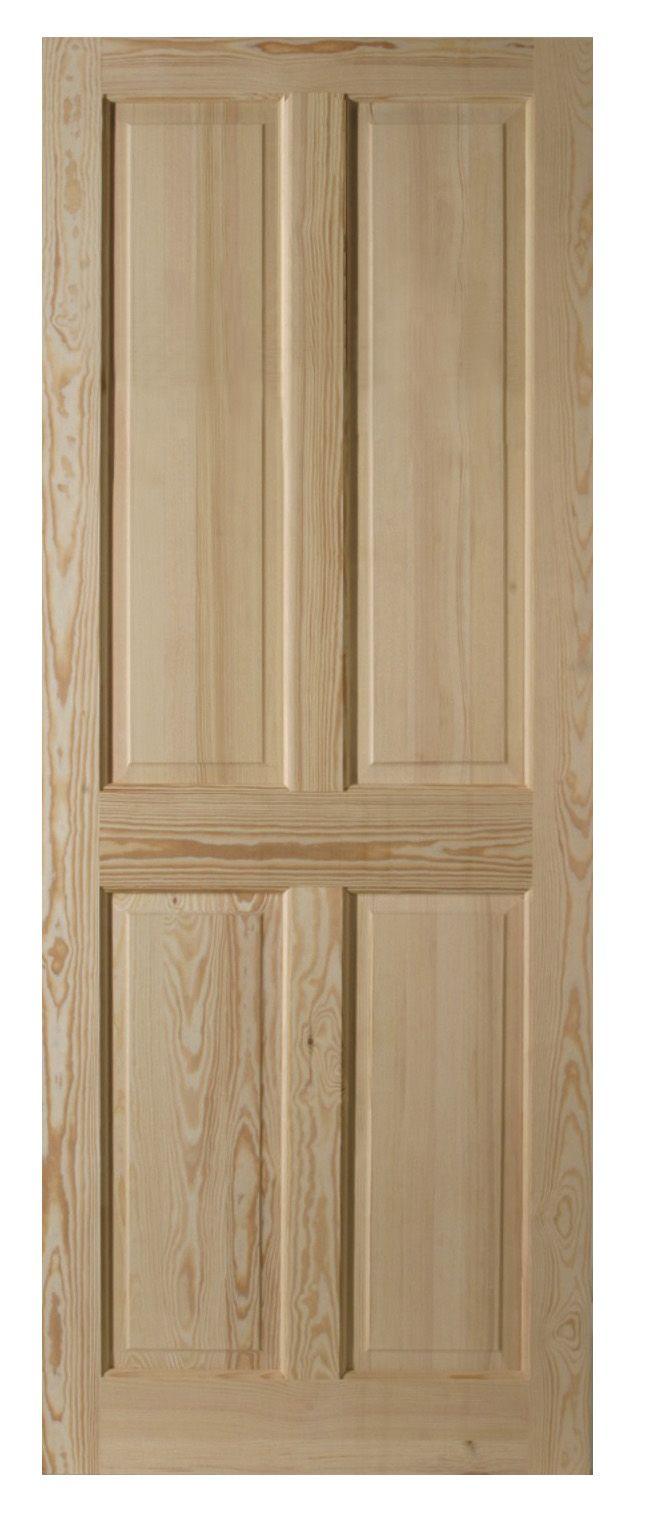 4 Panel Clear Pine Internal Unglazed Door, (h)2040mm (w)626mm