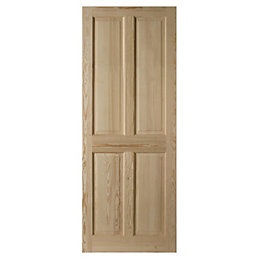 4 Panel Clear Pine Internal Unglazed Door, (H)2040mm