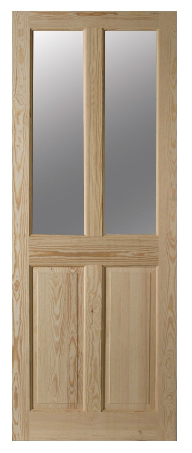 4 Panel Clear Pine Glazed Internal Door, (h)2040mm (w)826mm