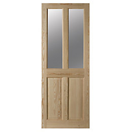 4 Panel Clear Pine Glazed Internal Door, (H)2040mm