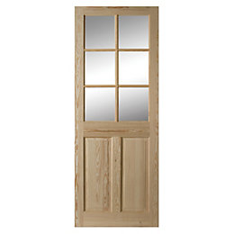 6 Panel Clear Pine Glazed Internal Door, (H)1981mm