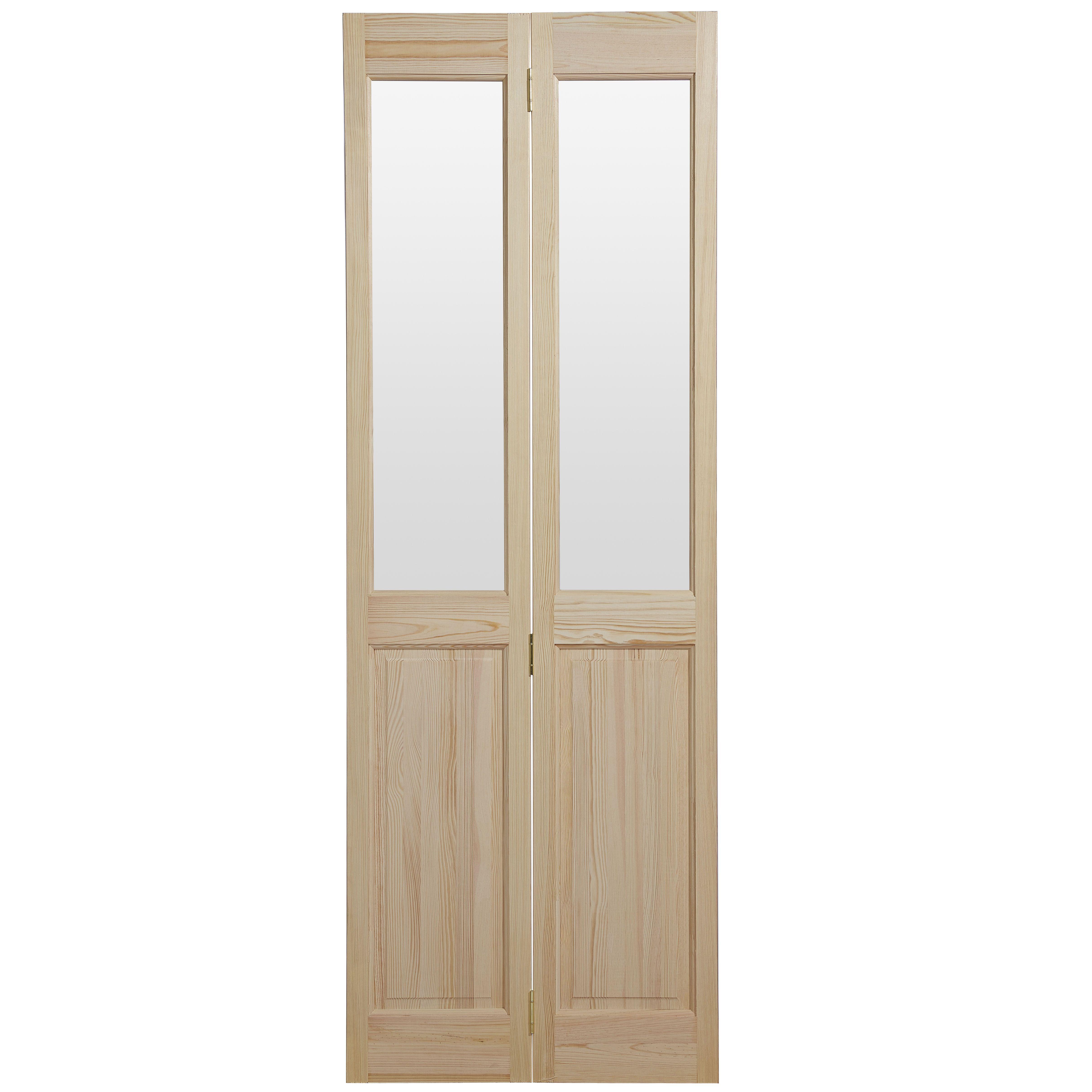 4 Panel Clear Pine Glazed Internal Bi-fold Door, (h)1981mm (w)762mm