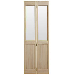 4 Panel Clear Pine Glazed Internal Bi-Fold Door,