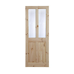 4 Panel Knotty Pine Glazed Internal Door, (H)2040mm