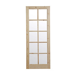 10 Lite Knotty Pine Glazed Internal Door, (H)1981mm