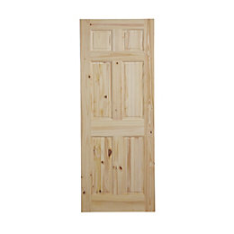 6 Panel Knotty Pine Internal Unglazed Door, (H)2040mm
