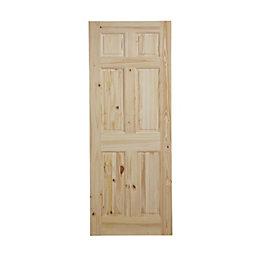 6 Panel Knotty Pine Internal Unglazed Door, (H)2040mm