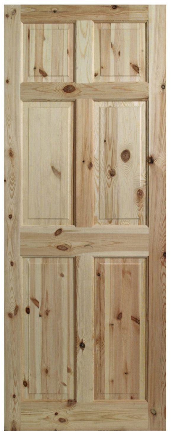 6 Panel Clear Pine Internal Unglazed Door, (h)2040mm (w)726mm