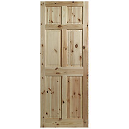 6 Panel Clear Pine Internal Unglazed Door, (H)2040mm
