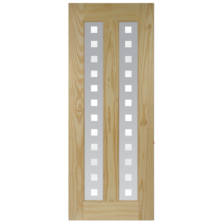 Vertical 2 Panel Clear Pine Glazed Internal Door, (h)2040mm (w)826mm