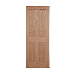 4 Panel Oak Veneer Internal Unglazed Door, (H)2032mm