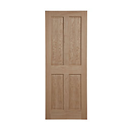 4 Panel Oak Veneer Internal Unglazed Door, (H)2040mm