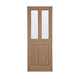 4 Panel Oak Veneer Glazed Internal Door, (H)2040mm