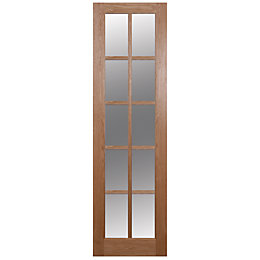 10 Lite Oak Veneer Glazed Internal Door, (H)1981mm