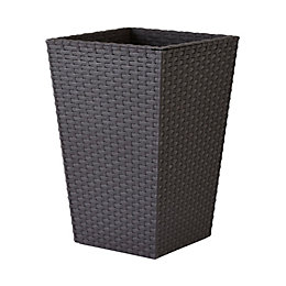 Harwood Square Plastic Brown Planter (H)43.5cm (L)28.5cm