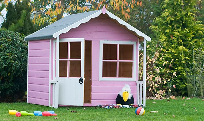 """5X4 Kitty Playhouse painted in pink and white"""