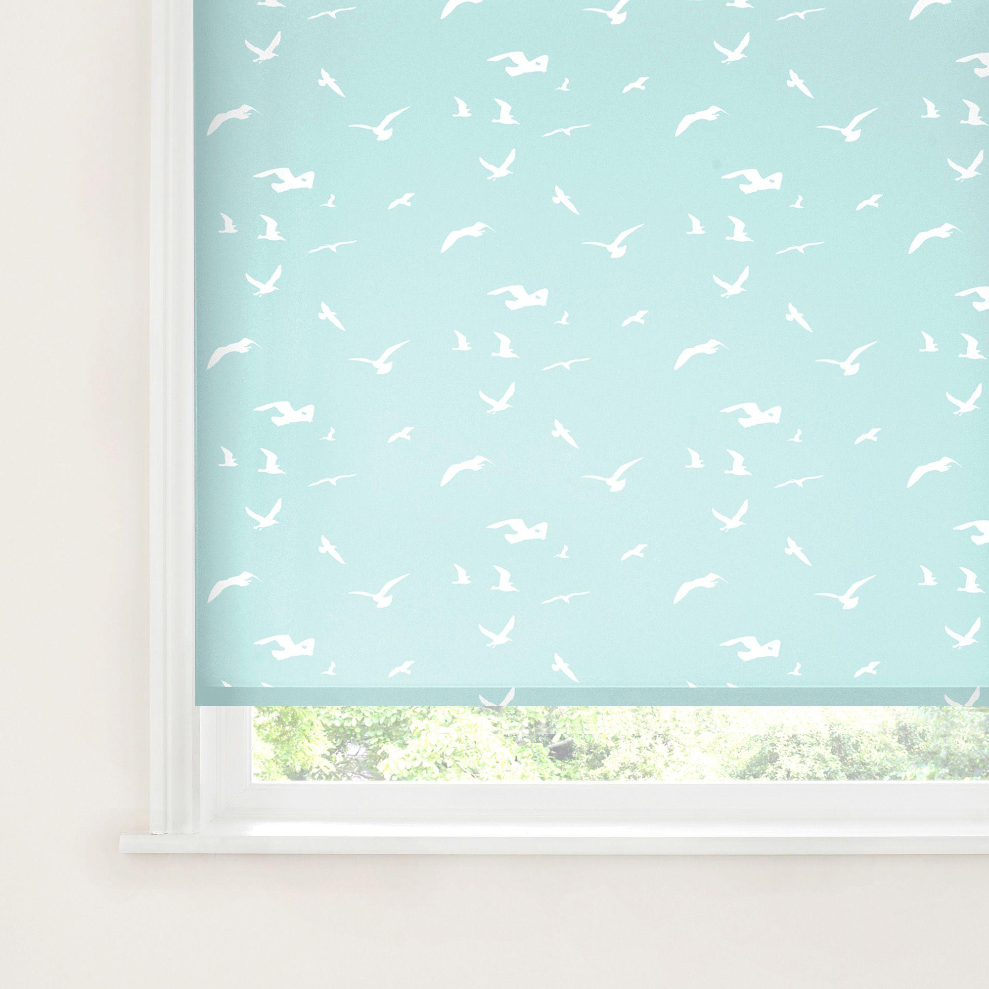 Bathroom Window Blinds B&Q colours malus corded light blue & white roller blind (l)160 cm (w