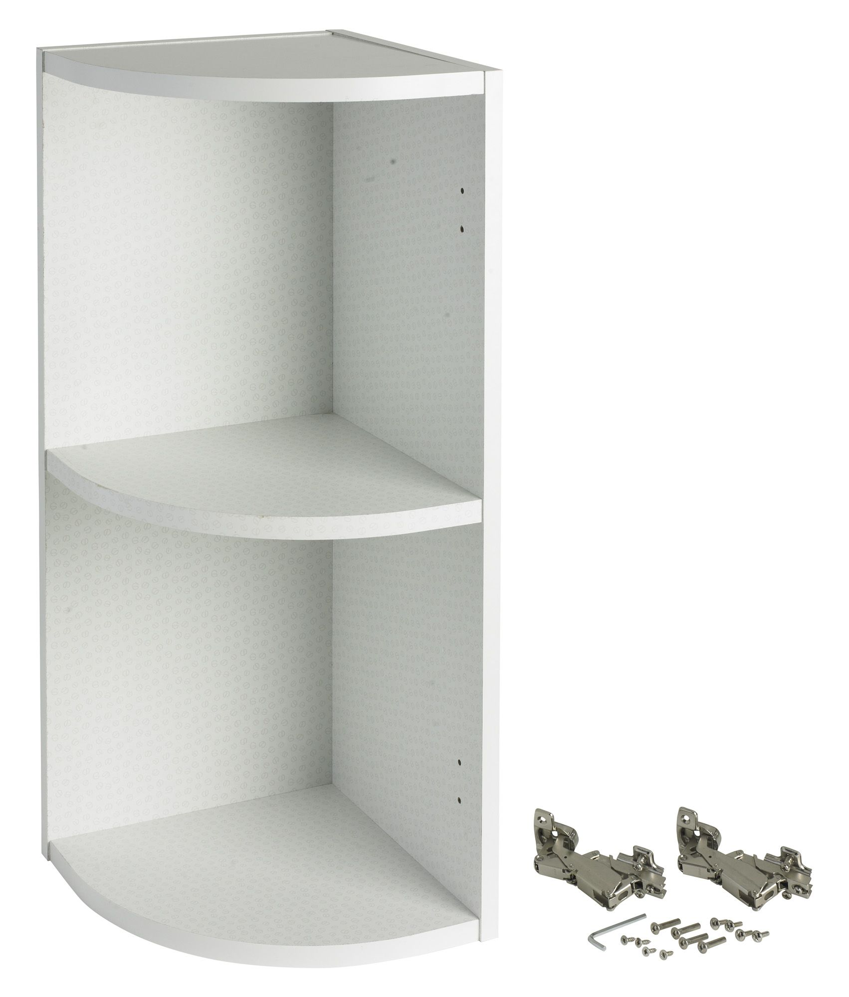 It kitchens white curved end wall cabinet w 300mm for Kitchen wall units b q