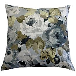 Palmarosa Watercolour Floral Green & Grey Cushion