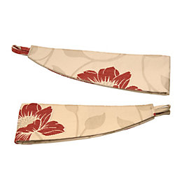 Colours Geranium Cream & Red Floral Curtain Tie