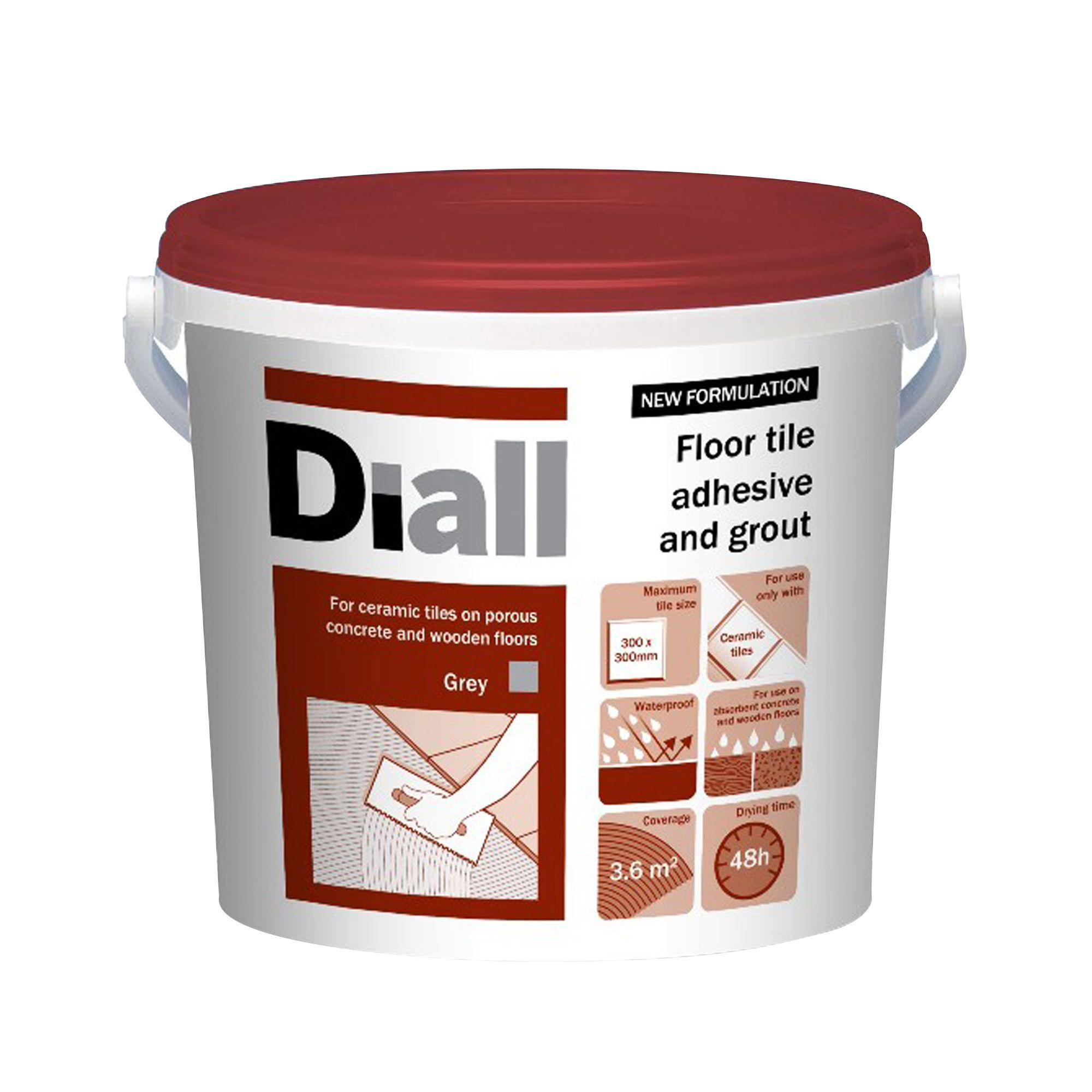 Diall Ready To Use Floor Tile Adhesive & Grout, Grey 14.6kg