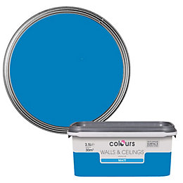 Colours Electric Blue Matt Emulsion Paint 2.5L