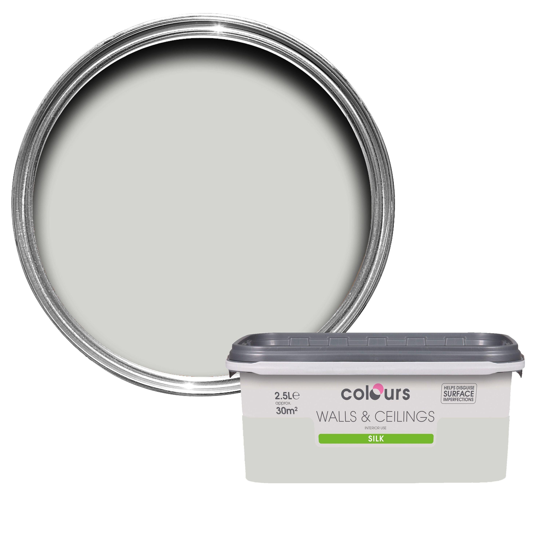 Colours Standard Grey Hints Silk Emulsion Paint 2.5L | Departments | DIY at  B&Q
