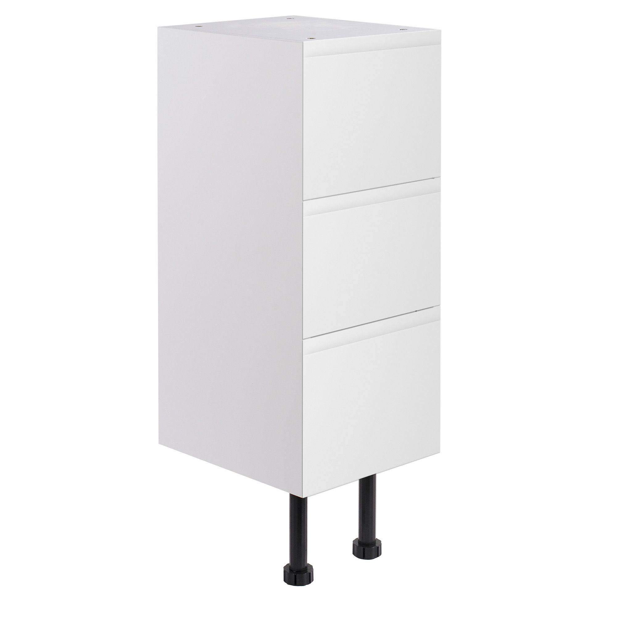 Cooke & Lewis Marletti Gloss White Narrow 3 Drawer Base Unit, (w)300mm