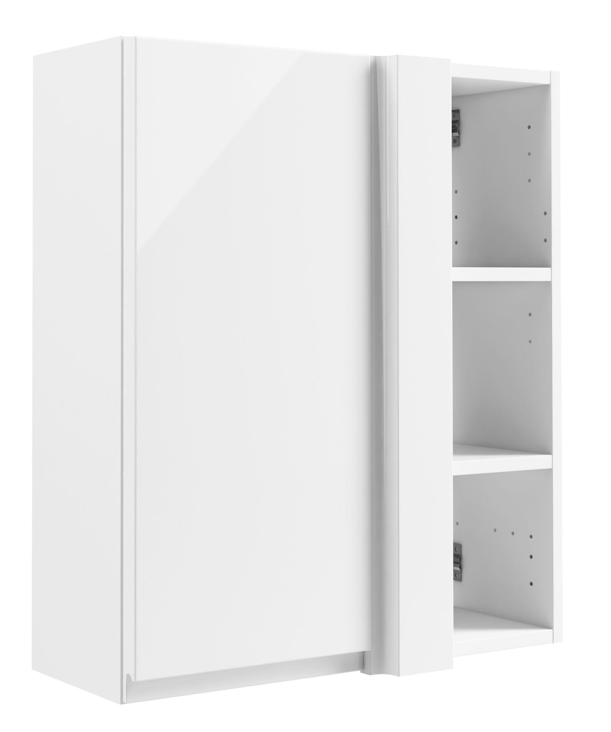 cooke lewis marletti gloss white corner wall cabinet w 500mm