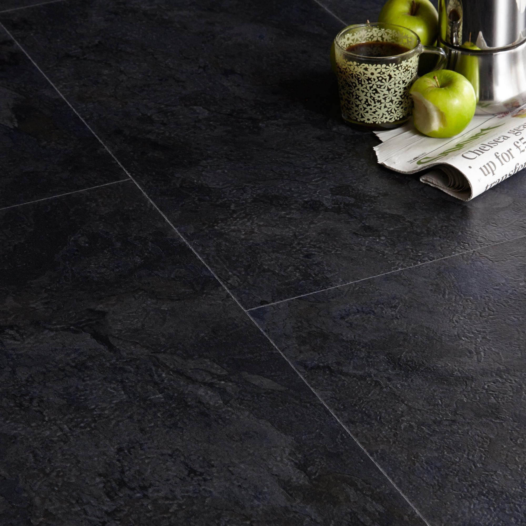 Colours Black Slate Effect Luxury Vinyl Flooring Sample