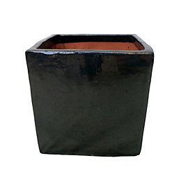 Nith Square Glazed Terracotta Black Mirror Planter (H)200mm