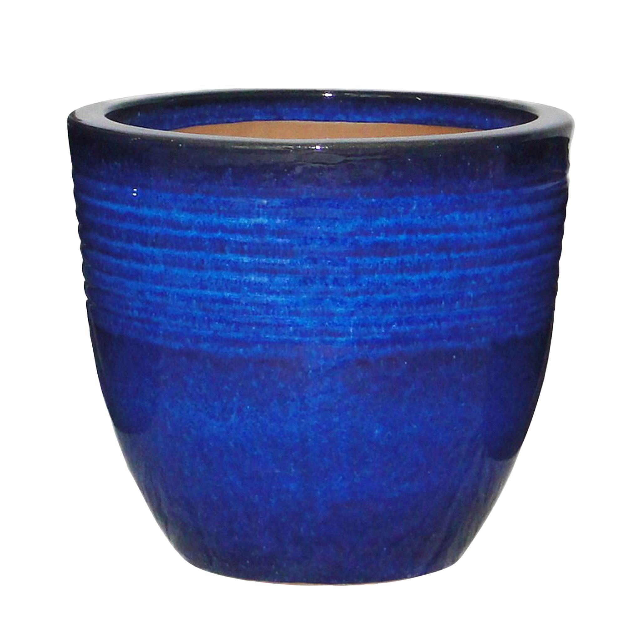 Seacourt Round Glazed Blue Pot H 245mm Dia 270mm Departments Diy At B Amp Q