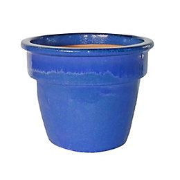 Hazelbrook Round Glazed Blue Pot (H)14cm (Dia)23cm