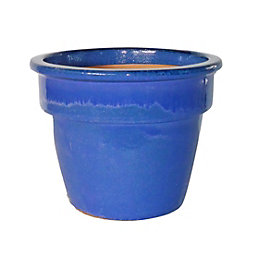 Hazelbrook Round Glazed Blue Pot (H)240mm (Dia)340mm