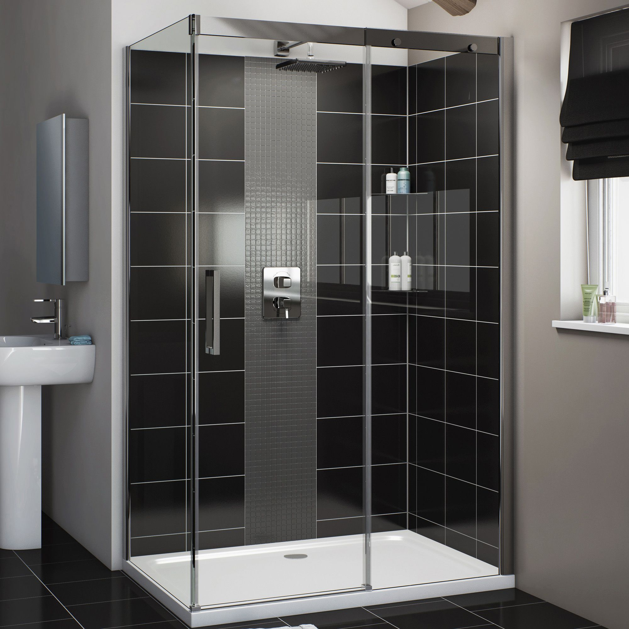 Cooke & Lewis Carmony Rectangular Rh Shower Enclosure, Tray & Waste Pack With Single Sliding Soft Close Door (w)1200mm (