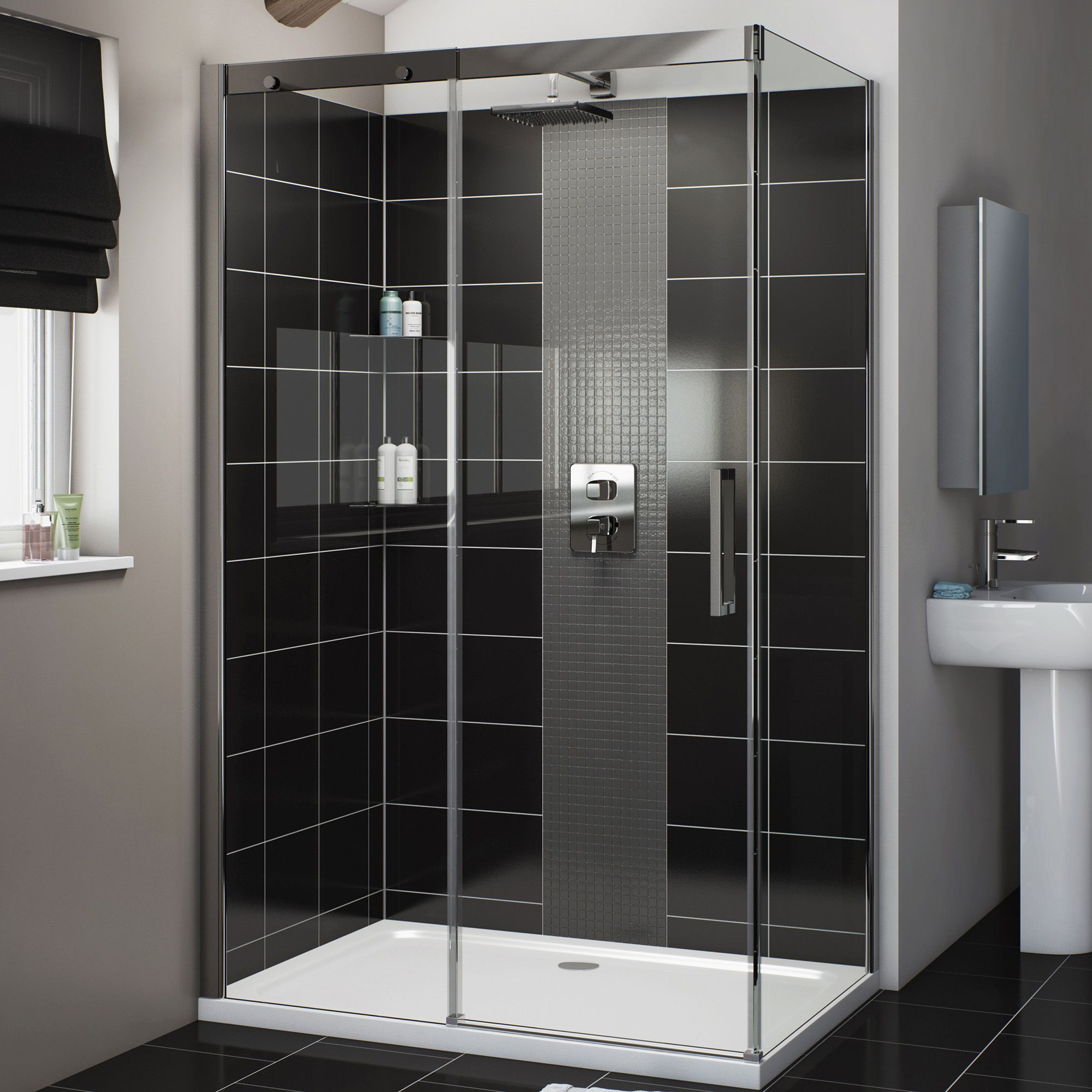 Cooke & Lewis Carmony Rectangular LH Shower Enclosure, Tray & Waste Pack  with Single Sliding Soft Close Door (W)1200mm (D)800mm | Departments | DIY  at B&Q