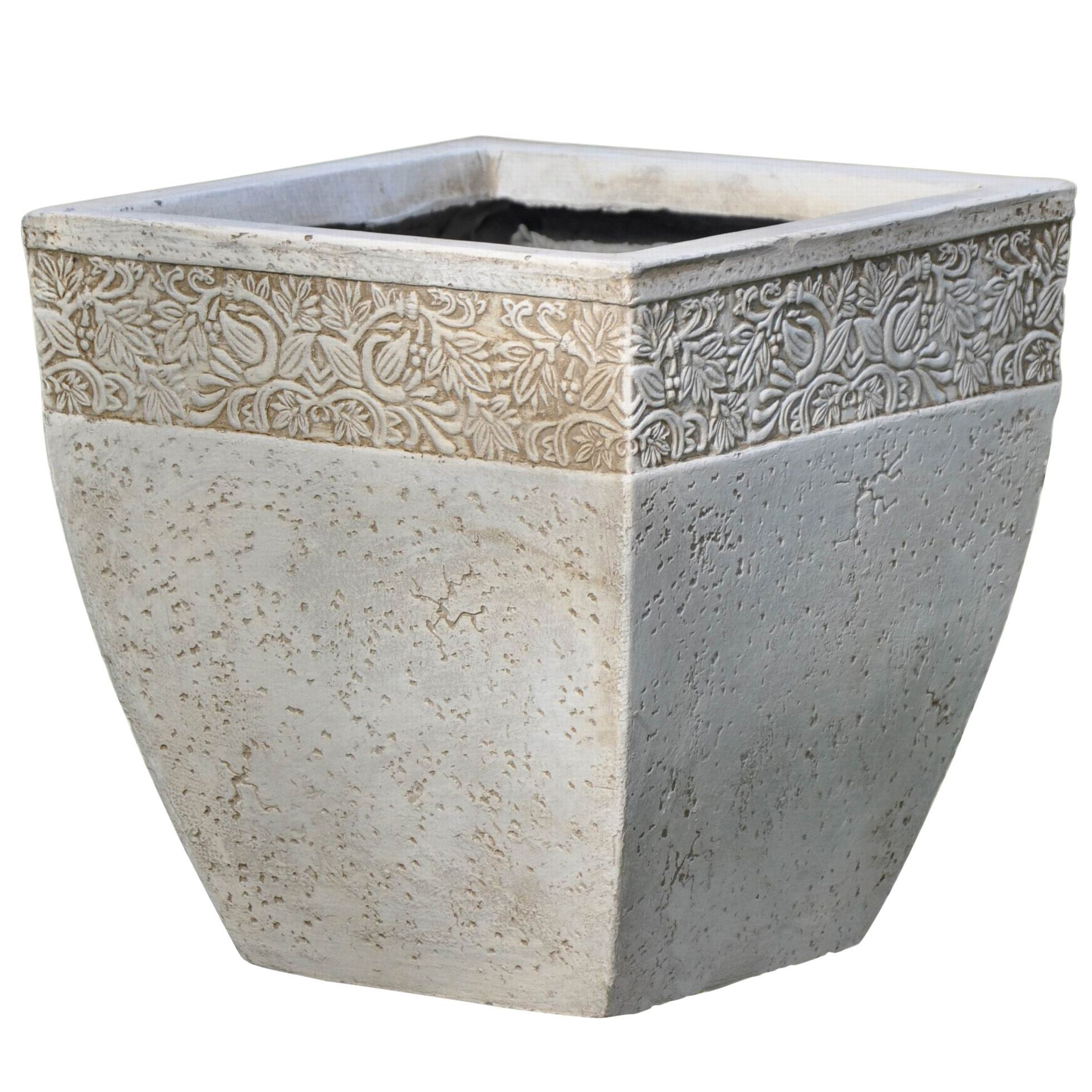 ash square cream planter (h)cm (l)cm  departments  diy at bq -