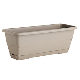 Roe Square Beige Trough (H)18cm