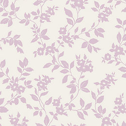 Colours Mayflower Lilac & White Floral Mica Effect