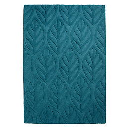 Colours Tilly Turquoise Leaf Rug (L)1.7m (W)1.2m